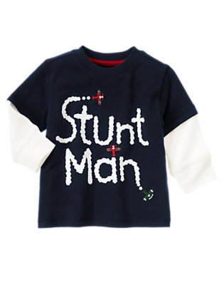 Gym Navy Stunt Man Double Sleeve Tee by Gymboree