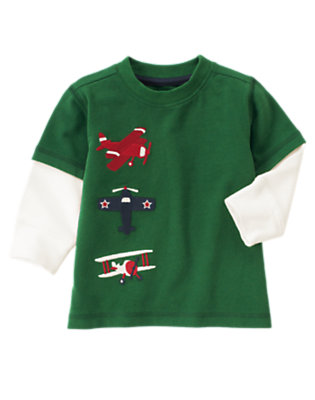 Pine Green Airplanes Double Sleeve Tee by Gymboree