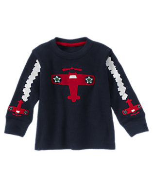 Toddler Boys Gym Navy Airplane Sleeve Thermal Tee by Gymboree