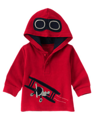 Toddler Boys Holiday Red Airplane Pilot Knit Hoodie by Gymboree