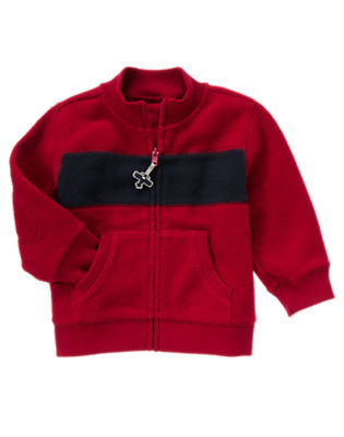 Holiday Red Stripe Fleece Zip Cardigan by Gymboree