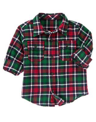 Spruce Green Plaid Plaid Flannel Shirt by Gymboree