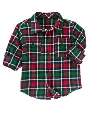 Toddler Boys Spruce Green Plaid Plaid Flannel Shirt by Gymboree