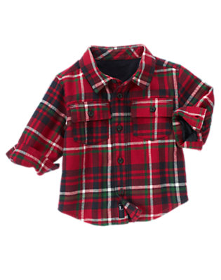 Toddler Boys Classic Red Plaid Plaid Flannel Shacket by Gymboree