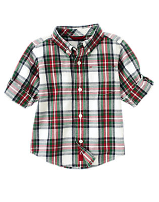 Toddler Boys Ivory Plaid Plaid Shirt by Gymboree