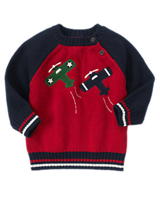 Toddler Boys Holiday Red Airplanes Sweater by Gymboree