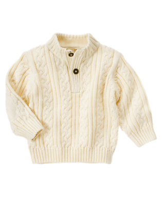 Toddler Boys Classic Ivory Shawl Collar Cable Sweater by Gymboree