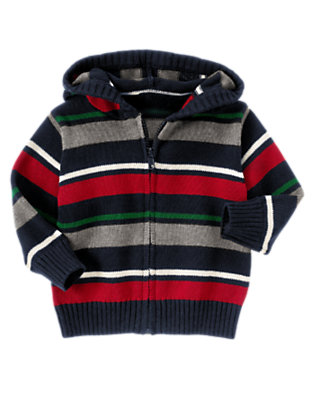 Gym Navy Multi Stripe Stripe Hooded Zip Cardigan by Gymboree