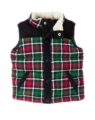 Toddler Boys Gym Navy Plaid Flannel Quilted Vest by Gymboree