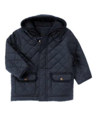 Toddler Boys Gym Navy Quilted Hooded Jacket by Gymboree