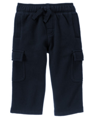 Gym Navy Fleece Cargo Active Pant by Gymboree