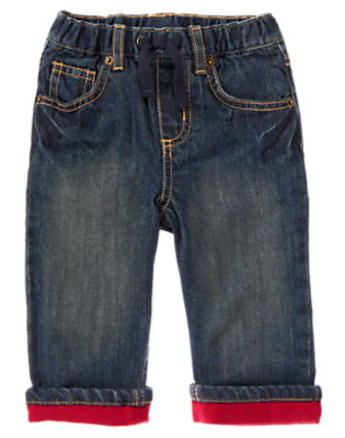Toddler Boys Denim Jersey Lined Pull-On Jean by Gymboree