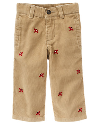 Toddler Boys Khaki Airplane Embroidered Corduroy Pant by Gymboree