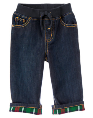 Toddler Boys Denim Plaid Cuffed Pull-On Jean by Gymboree