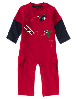 Holiday Red Airplanes Double Sleeve One-Piece by Gymboree