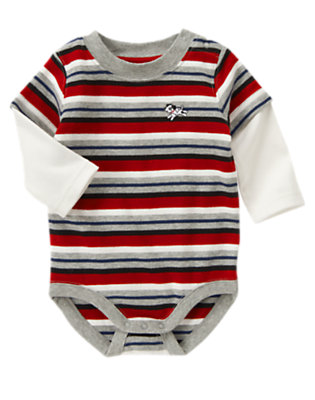 Firetruck Red Stripe Dalmatian Pup Double Sleeve Bodysuit by Gymboree