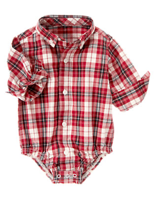 Baby Firetruck Red Plaid Plaid Shirt Bodysuit by Gymboree