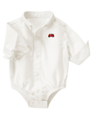 Baby White Firetruck Oxford Shirt Bodysuit by Gymboree