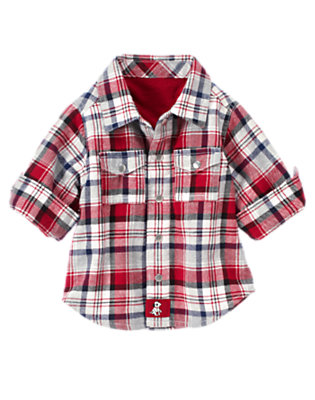 Firetruck Red Plaid Lined Plaid Shirt Jacket by Gymboree