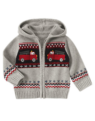 Heather Grey Firetruck Fair Isle Sweater Hoodie by Gymboree