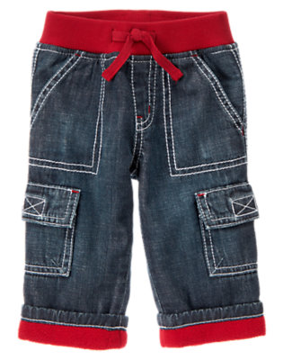Baby Denim Lined Denim Cargo Pant by Gymboree