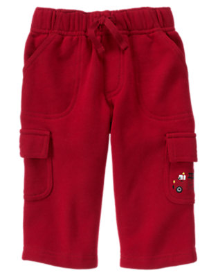 Baby Firetruck Red Firetruck Fleece Cargo Pant by Gymboree