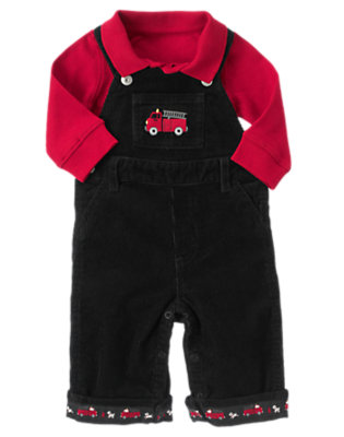 Baby Black/Firetruck Red Firetruck Overall Two-Piece Set by Gymboree