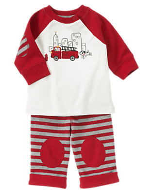 Baby White/Firetruck Red Firetruck Two-Piece Set by Gymboree