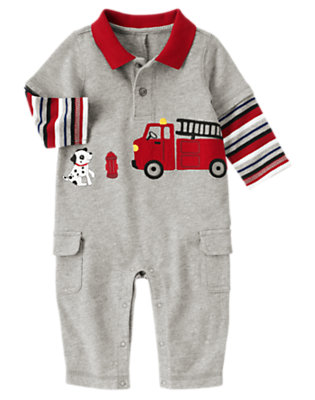 Baby Heather Grey Firetruck Double Sleeve One-Piece by Gymboree