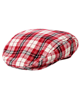 Firetruck Red Plaid Plaid Cap by Gymboree
