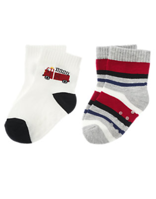 White/Heather Grey Stripe Firetruck Pup Sock Two-Pack by Gymboree