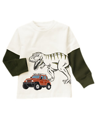 Boys Ivory T-Rex Jeep Double Sleeve Tee by Gymboree