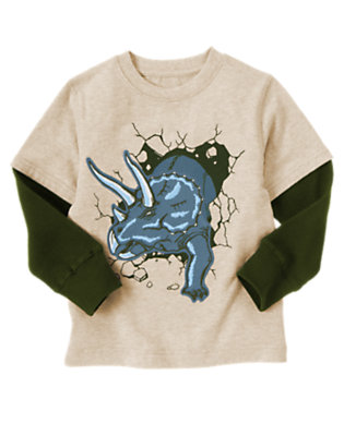 Boys Oatmeal Heather Triceratops Double Sleeve Tee by Gymboree
