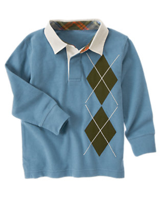 Prehistoric Blue Argyle Rugby Shirt by Gymboree
