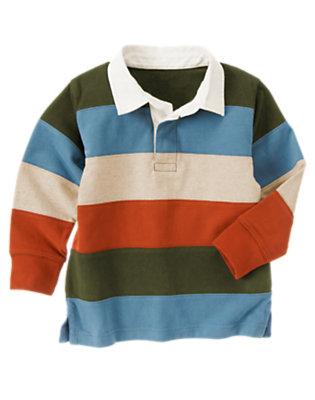 Green Dinosaur Pieced Stripe Rugby Shirt by Gymboree