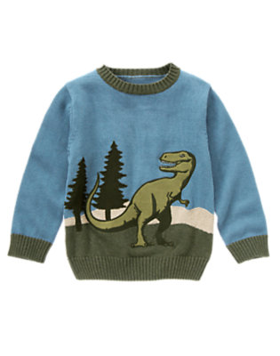 Boys Prehistoric Blue T-Rex Sweater by Gymboree
