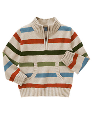 Boys Oatmeal Heather Stripe Stripe Half Zip Sweater by Gymboree