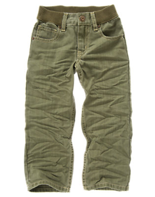 Tinted Green Denim Ribbed Waist Jean by Gymboree