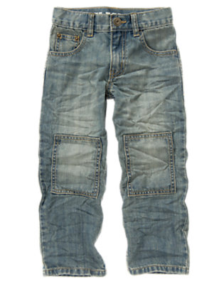Denim Knee Patch Straight Jean by Gymboree