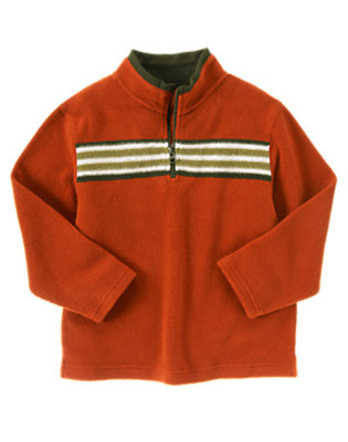 Deep Orange Stripe Fleece Half Zip Pullover by Gymboree