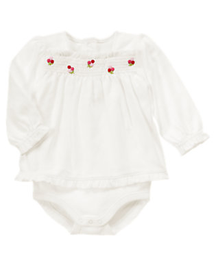 Baby Ivory Berry Flower Layered Bodysuit by Gymboree