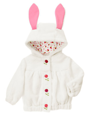 Baby Ivory Bunny Faux Fur Hoodie by Gymboree