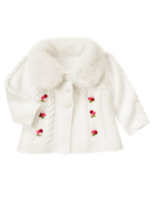 Ivory Hand-Embroidered Berry Flower Cardigan by Gymboree