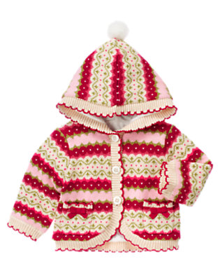 Baby Red Berry Fair Isle Fair Isle Sweater Hoodie by Gymboree