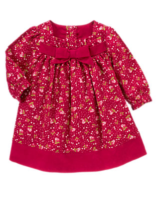 Baby Red Berry Floral Berry Floral Corduroy Dress by Gymboree