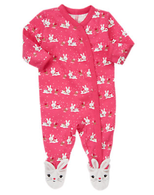 Baby Holly Berry Pink Bunny Footed One-Piece by Gymboree