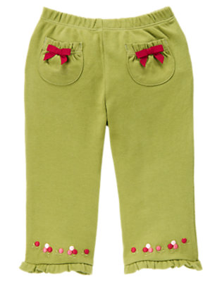 Baby Wintergrass Green Berry Flower Ruffle Pant by Gymboree