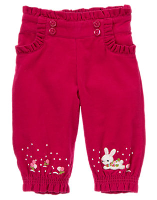 Red Berry Snow Bunny Corduroy Pant by Gymboree