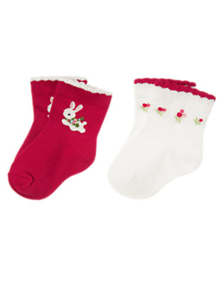 Red Berry/Ivory Bunny Flower Sock Two-Pack by Gymboree