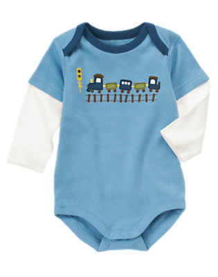 Train Blue Train Double Sleeve Bodysuit by Gymboree